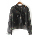 Sheer Tie Front Puff Sleeve Floral Blouses