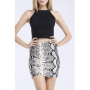 Fashionable Snake Pattern Print Mini Pencil Skirt