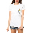Basic Round Neck Short Sleeve Cartoon Print Chic Tee