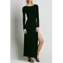 Boat Neck Long Sleeve Plain Split Side Maxi Dress