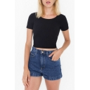 Round Neck Short Sleeve Basic Tee