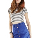 Striped Round Neck Short Sleeve Crop Top