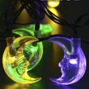 Moon Shape Multi Color Solar Powered Outdoor String Lights with 30 LEDs