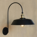 Satin Black Single Light Warehouse Shade Gooseneck Barn LED Wall Light