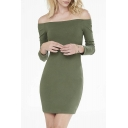 Off The Shoulder Long Sleeve Plain Bodycon Mini Sexy Dress