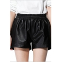 Fashion Women Faux Leather Gathered Waist Pocket Shorts