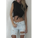 Women Summer Tie Front Short Sleeve Tank Tees Daw Navel Round Neck Crop Top
