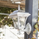 Stylish Light Sensor  White Finish 14 Inches High Solar 3 Led Outdoor Wall Light