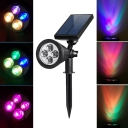 Multi Color Black Finish 4 LED Solar Garden Landscape Spotlight