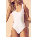 Square Neck Letter Print One Piece Swimwear
