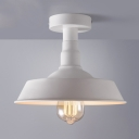 10'' Wide White Finish Small LED Semi Flush Light with Warehouse Shade