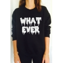 Women Fashion Letter Print Long Sleeve Sweatshirt