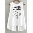 A-line Letter Print Split Back Sleeveless Tops