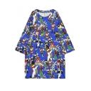 Cute Colorful Cartoon Print 3/4 Sleeve Loose Maxi Chic Dress