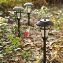 Simple Modern Style 16 Inches High Solar Powered Pathway Lighting with Glass Shade