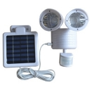 Dual Head White Finish 22 LEDs Super Bright Solar Powered Outdoor Security Garage Light