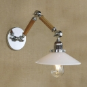 1 Lt Wood Adjustable LED Wall Light in Chrome Finish
