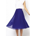 Pleated Chiffon Swing Tea Length Skirt
