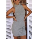 Plain Sexy High Neck Sleeveless Bodycon Mini Dress