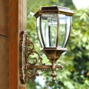 Cool White 14'' H Dusk to Dawn Solar Powered LED Outdoor Wall Light with Glass Shade
