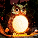 Owl Shape 4 Inches Wide Resin Solar Powered Outdoor Garden Decorative Statue