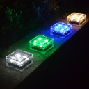 Clear Glass Color Changing Brick Solar Outdoor Deck Lighting with 4 LED