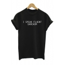Round Neck Roll Sleeve Letter Print Chic T-Shirts