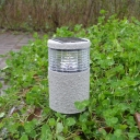 Pack  of 2 Resin 12'' H Solar Powered Cylinder Shade Garden Lawn LED Lighting