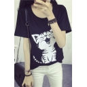 Loose Fit Kitten Print Round Neck Short Sleeves Tee