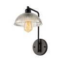 Ribbed Glass Bowl Shape 1 Light LED Wall Sconce in Black Finish
