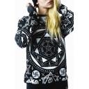 Skull-Patterned Print Ribbed Long Sleeve Sweatshirt
