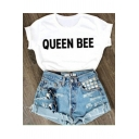 Fashionable Girl Style Cuffed Graphic Tee