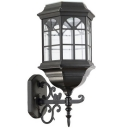 Traditional Style Matte Black Solar Power 14 Inches High LED Wall Light