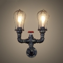 Rust Iron 2 Light Pipe LED Wall Sconce with Wire Cage