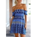 Off-The-Shoulder Short Sleeve Tribal Print Mini Dress