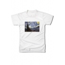 Creative Painting Print Crew Neck Cotton Tee