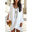 Sexy V-Neck Plain Loose A-Line Cut Out Shoulder Long Sleeve Mini Dress