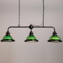 3 Light Green Finish LED Island Linear Kitchen Light