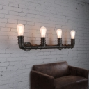 Industrial Style 27Inches Wide 4 Light Large Pipe LED Wall Sconce