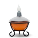 Solar Powered Energetic Orange Finish LED Outdoor Decorative Portable Table Lamp with Metal Base