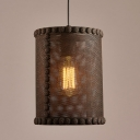 Rust Iron 10'' Wide Single Light Cylinder Metal Mesh Shade LED Pendant with Small Flower Motif