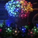 Multi Color 50 Pieces Peach Blossom 2 Modes Steady on/ Flash Solar String Lights