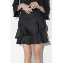 High Waist Ruffle A-Line Plain Mini Skirts
