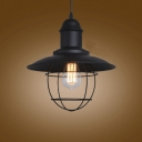 Adorable Black Finish Small LED Hanging Pendant with Metal Cage
