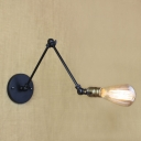 Matte Black 1 Light Adjustable LED Wall Sconce in Simple Bulb Style