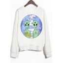 Crew Neck Ribbed Sleeves Alien Print Sweatshirt