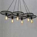 Vintage Industrial Style Wheel LED Chandelier in Black