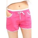 Fashion Women Contrast Hem Drawstring Sports Pocket Shorts