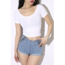 Scoop Neck Short Sleeve Crop Top
