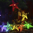 Cute Multi Color Starfish 30 LEDs Outdoor Garden Solar String Lights